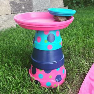 DIY Terracotta Pot Bird Bath/Feeder