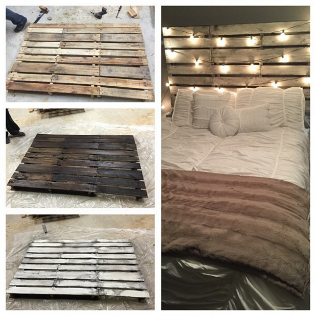 Diy wood pallet headboard crafty morning for How to make a wood pallet headboard