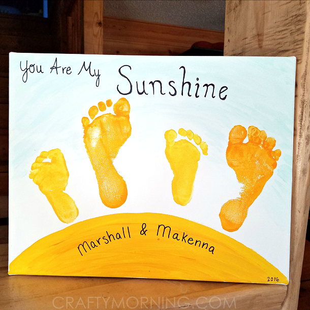 you-are-my-sunshine-footprint-sibling-canvas-kids-craft