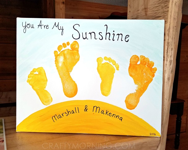 you are my sunshine sibling footprint canvas mothers day