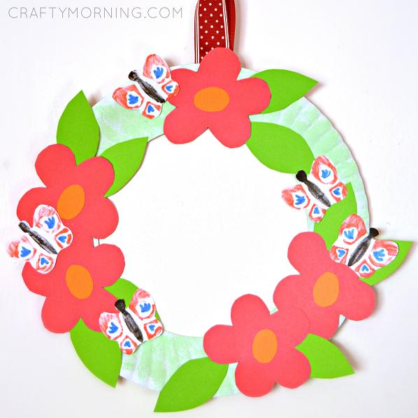 Paper Plate Flower Garden Wreath Crafty Morning