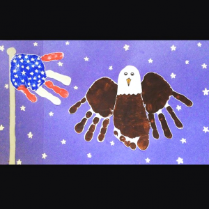 Handprint American Flag & Bald Eagle Craft