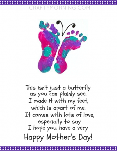 graphic relating to Printable Mothers Day Poems named Printable Footprint Butterfly Moms Working day Poem - Cunning Early morning