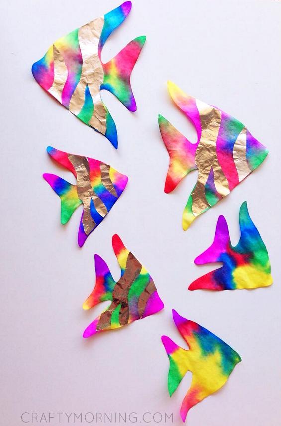 coffee filter rainbow fish kids craft crafty morning