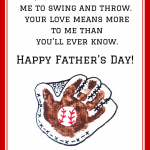 Handprint Baseball Father's Day Poem Printable