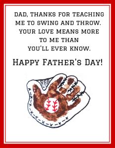 Handprint Baseball Father's Day Poem Printable