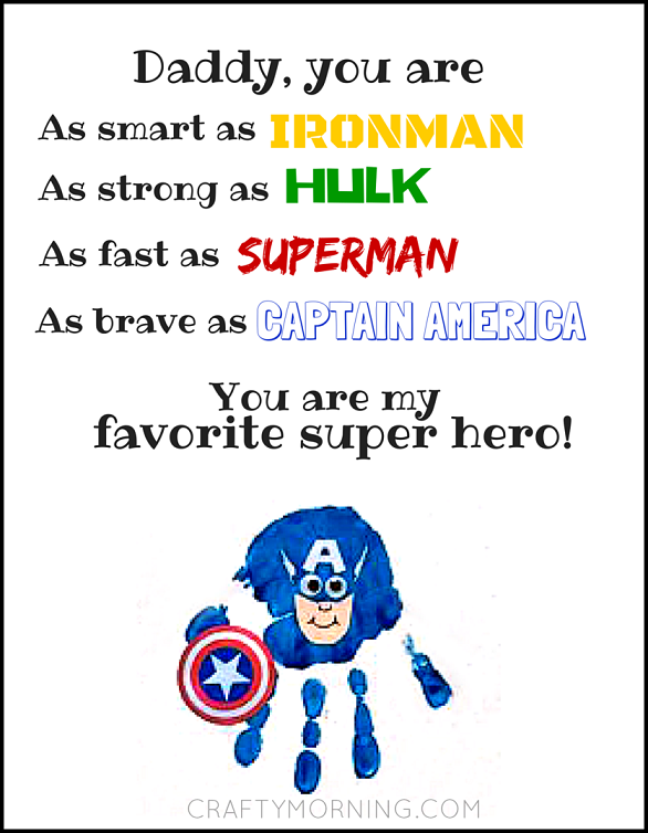 Free Father\'s Day Super Hero Printable - Crafty Morning