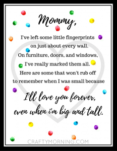 image about Printable Mother Day Poems referred to as Totally free Moms Working day Fingerprint Poem Printable - Cunning Early morning