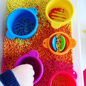 Colorful Giant Couscous Sensory Bin