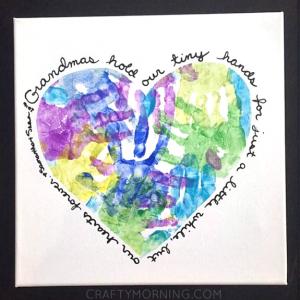 Heart Handprint Canvas for Grandma