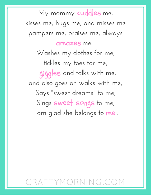 photograph regarding Walk With Me Daddy Poem Printable named Mommy Belongs in direction of Me Printable Poem - Cunning Early morning