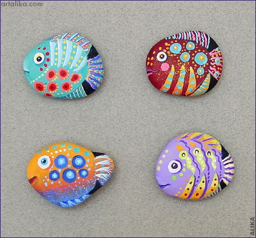 Paint Rocks to Look like Turtles & Fish
