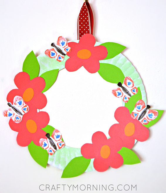 Paper Plate Flower Garden Wreath Crafty Morning