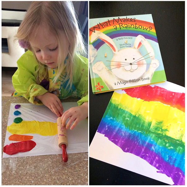 Rolling pin rainbow painting kids craft crafty morning for Paintings of toddlers