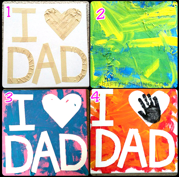 Tape Resist I Love Dad Canvas Crafty Morning