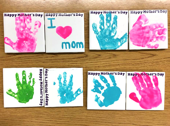 Handprint tile coasters for mothers day crafty morning tile coaster handprint mothers day kids gift negle Gallery