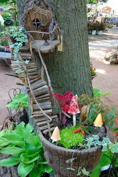 Tree Stump Fairy Garden Idea
