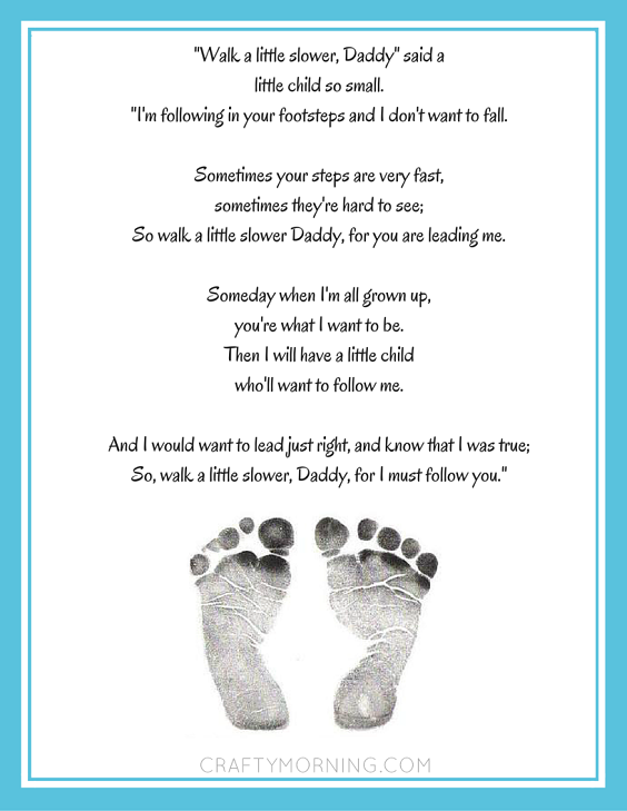 Universal image within walk with me daddy poem printable