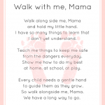 """Walk with me, Mama"" Footprint Poem Printable"