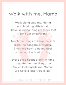 photo regarding Footprints Poem Printable known as Stroll with me, Mama\
