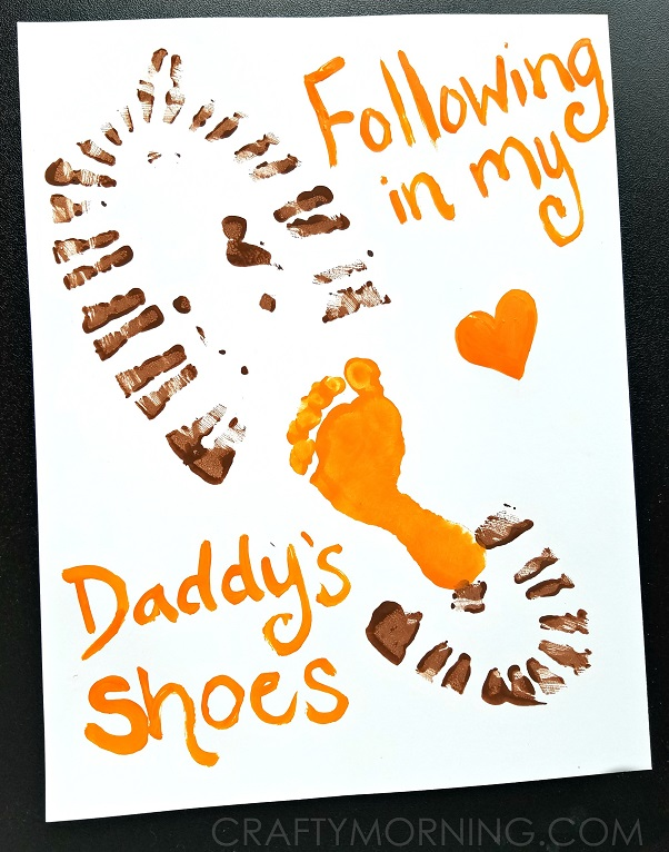 Father Day Card Ideas For Kids To Make Part - 35: Following-in-my-daddys-shoes-fathers-day-gift