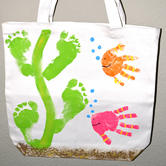 Handprint Fish/ Footprint Seaweed Tote Bag