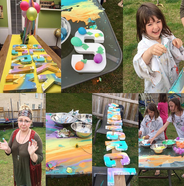 Balloon letter painting party idea crafty morning for Kids paint party