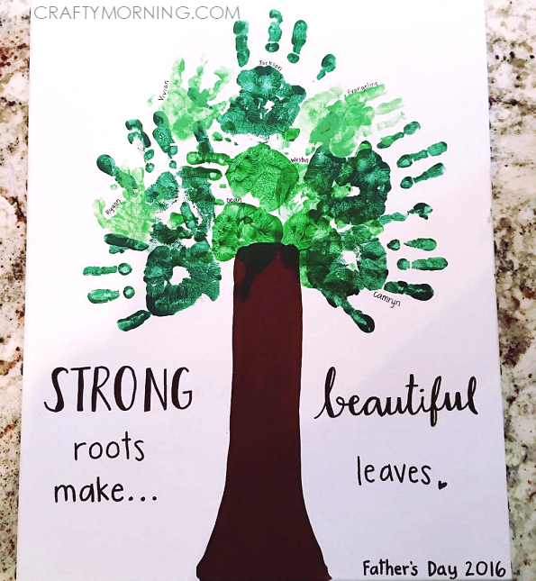 strong-roots-make-beautiful-leaves-fathers-day-handprint-craft