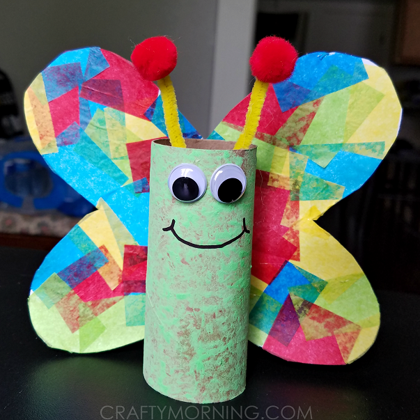 Cardboard tube butterfly kids craft crafty morning for Where to buy cardboard tubes for craft