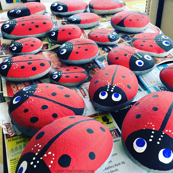 stone ladybugs garden craft crafty morning