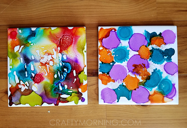 Alcohol Ink Tile Coasters Craft Crafty Morning