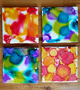 Alcohol Ink Tile Coasters Craft