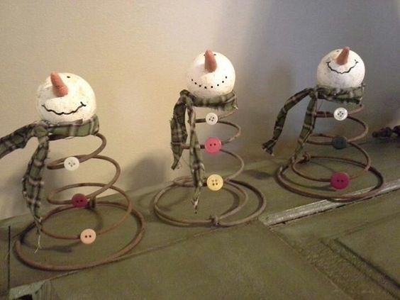 Bed Spring Snowmen Decoration Christmas
