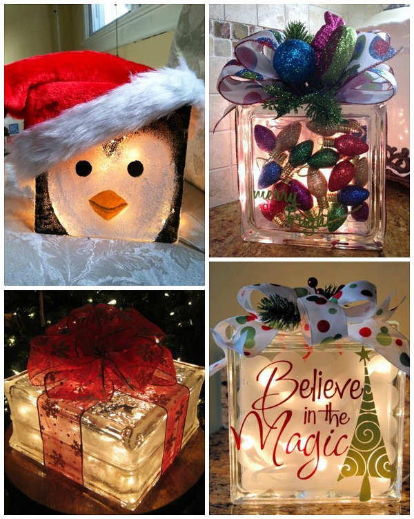 Exceptional Glass Block Craft Ideas For Christmas Part - 1: Cute-christmas-glass-block-ideas
