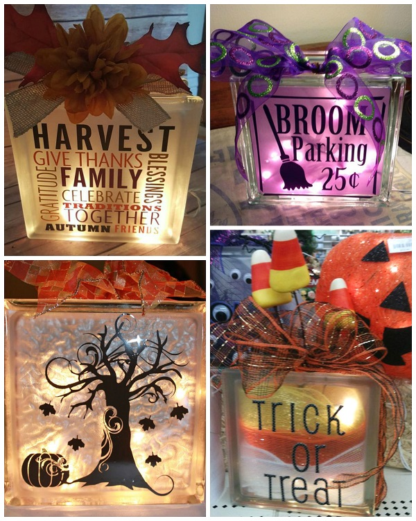 fall halloween glass block ideas - Glass Block Christmas Decorations