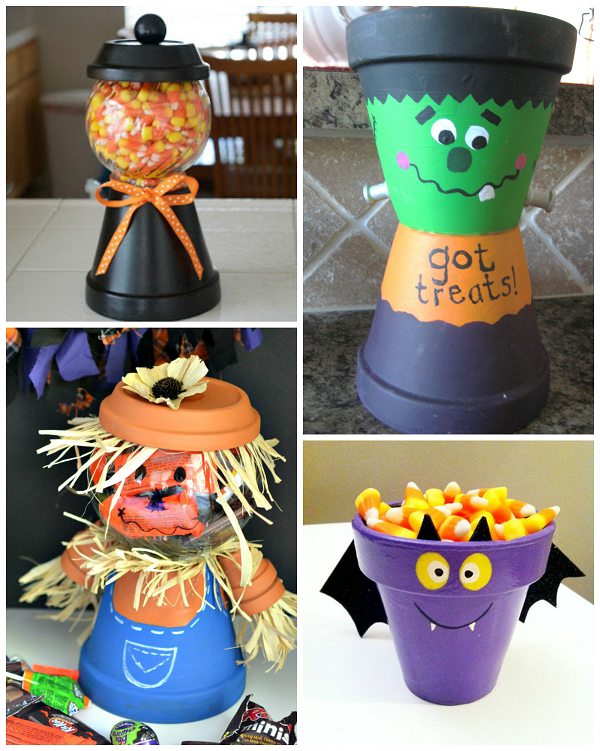 flower pot halloween crafts 1