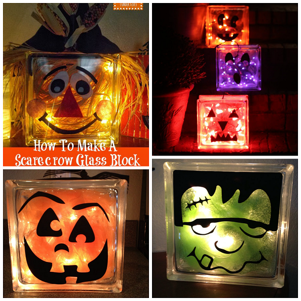 fall  halloween glass block crafts