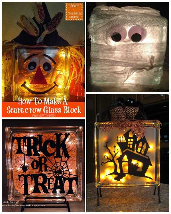 fall halloween glass block crafts crafty morning. Black Bedroom Furniture Sets. Home Design Ideas
