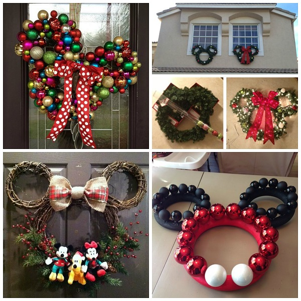minnie mickey mouse christmas wreaths crafty morning - Homemade Mickey Mouse Christmas Decorations