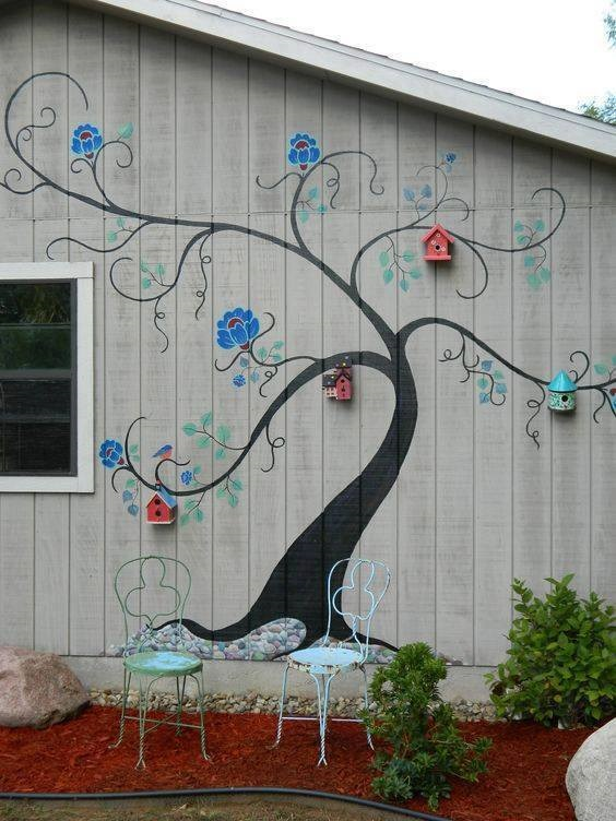 Painted tree bird house mural crafty morning for Exterior wall mural ideas