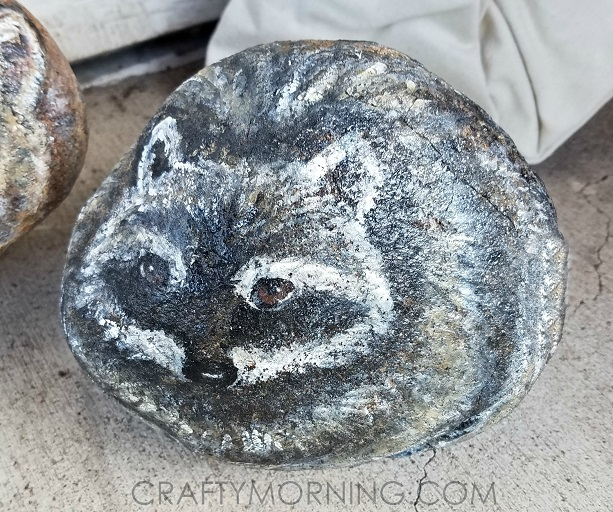 rock-painted-like-raccoon-art