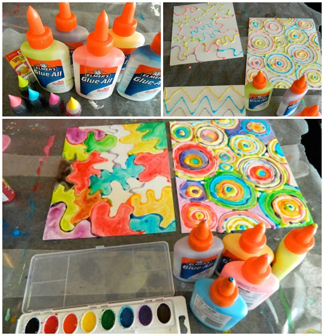Watercolor glue bottle art for kids crafty morning for Painting craft projects