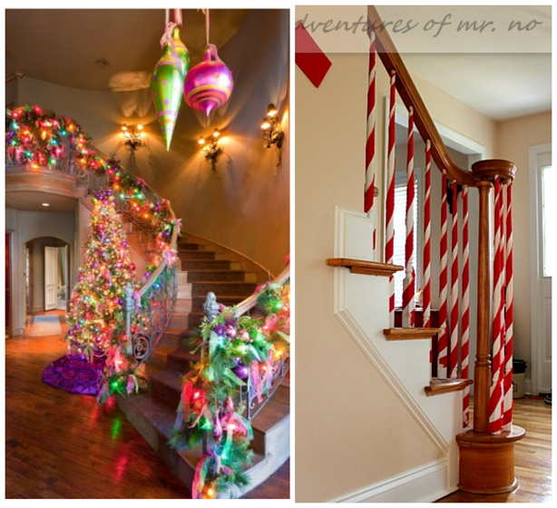 ways to decorate stairs for christmas - Christmas Decorations For Stair Rail