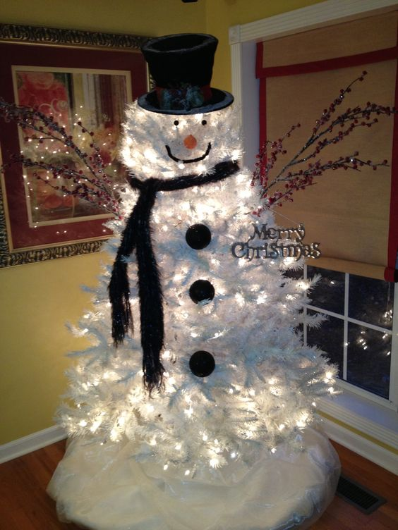 white snowman christmas tree idea
