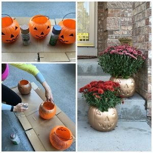 Plastic Pumpkin Mum Planters