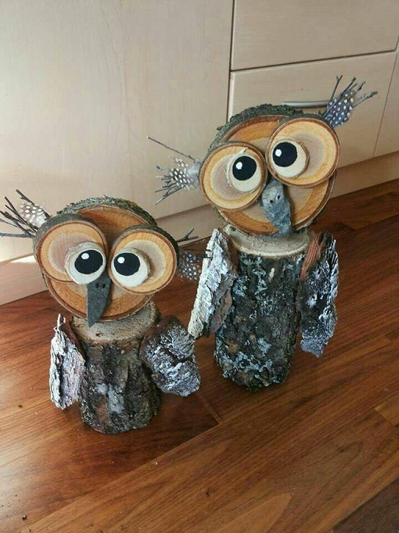Wood log owl decorations crafty morning for Craft ideas from wood