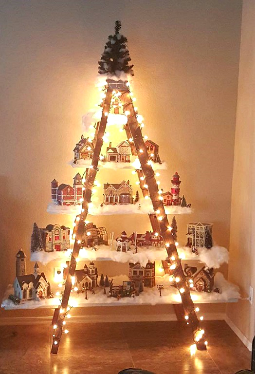 beautiful christmas ladder village crafty morning. Black Bedroom Furniture Sets. Home Design Ideas