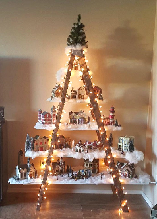 beautiful christmas ladder village crafty morning - Christmas Tree Ladder Decoration