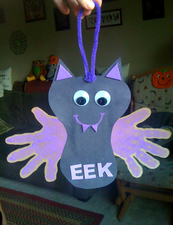halloween arts and crafts ideas for children hanging handprint bat craft crafty morning 8096