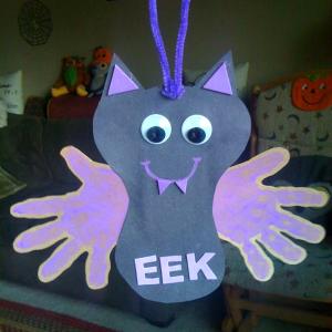 Hanging Handprint Bat Craft